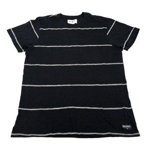 Billabong   Black Striped Short Sleeve T Shirt L